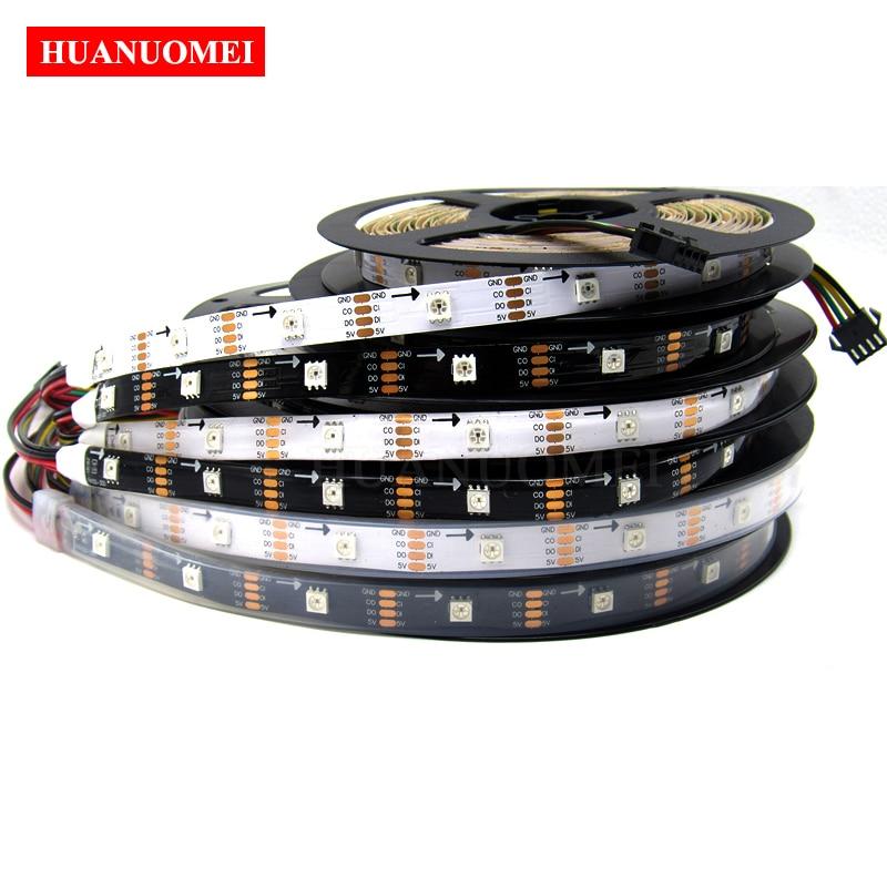 5M 30LED s/m HD107S LED lumière de bande, 5050 SMD RGB LED intégré HD107S IC puce (similaire APA102/APA107) blanc/noir PCB, IP20/IP65/IP67