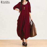 Vestidos 2016 Autumn ZANZEA Women Casual Loose Vintage Dress Oversized Half Sleeve O Neck Asymmetric Hem