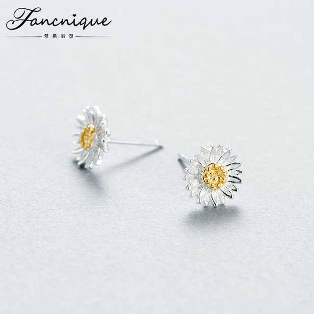 Fancnique 925 Sterling Silver Sun Flower Daisy Stud Earring Two Tone Fashion Lady Jewelry
