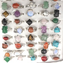 Mix lote anéis pedras naturais anel da moda, 50 peças frete grátis