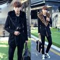 2017 Metrosexual Korean men's fashion slim warm coat in the long woolen hooded windbreaker F78 P165