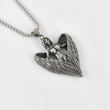 Black Knight Vintage silver color wings Beauty Angel Pendant necklace stainless steel wings Fairy necklace personal BLKN0746 angel wings rhinestone teardrop necklace