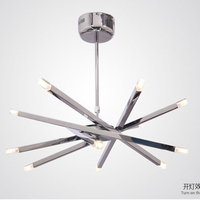 12 Lights Rod Star Ceiling hanging Lights Chrome Ceiling Chandeliers G4 LED Ceiling Kitchen Fixture Luminaire Creative lamp