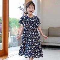 floral pattern summer dress little girl 2018 new ruffles maxi long blue teenage kids dresses for girls 14 12 15 10 6 8 4 7 years