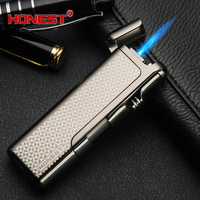 Cigarette Lighter Plasm Wind Proof Torch Jet Flame The Metal Anti Wind Ultra Thin Premium Gift