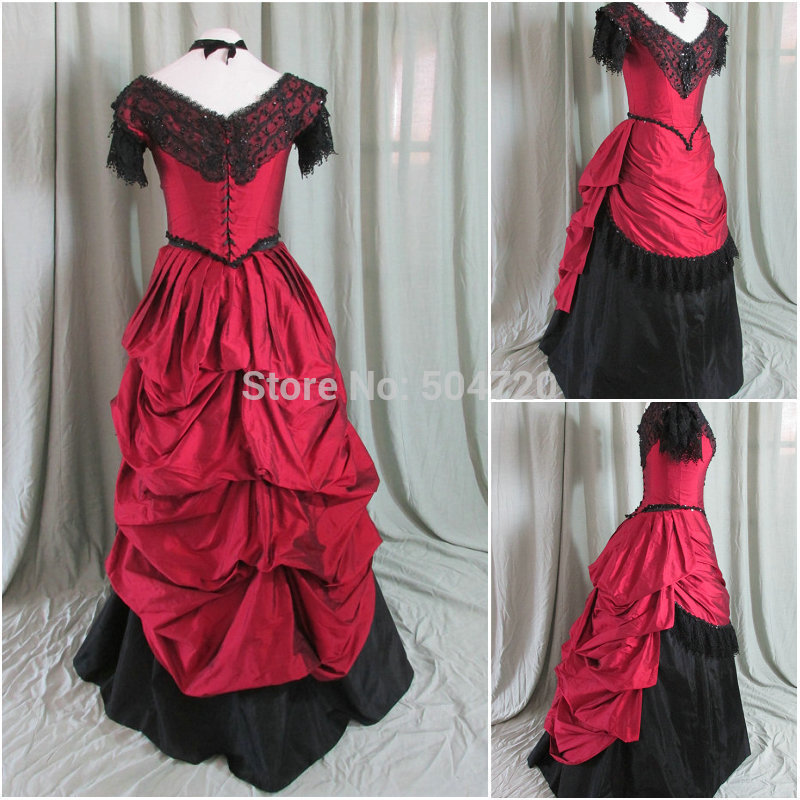Freeshipping!R-814 Vintage Costumes 1860s Civil War Ball Dress/Gothic Lolita Dress Renaissance dress All size
