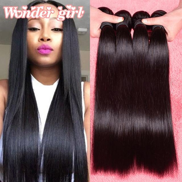"7A Malaysian Straight Hair 4 Bundles Malaysian Virgin Hair Straight Human Hair 8""-26"" Unprocessed Virgin Straight Hair Bundles"