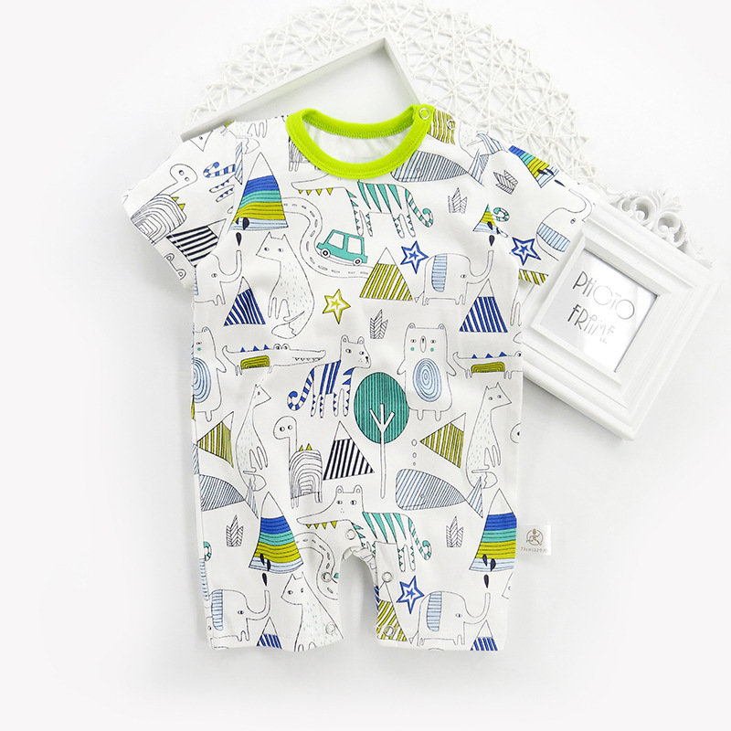 New baby onesies summer cotton comfortable short-sleeved romper 0-24 month baby dress knit breathable