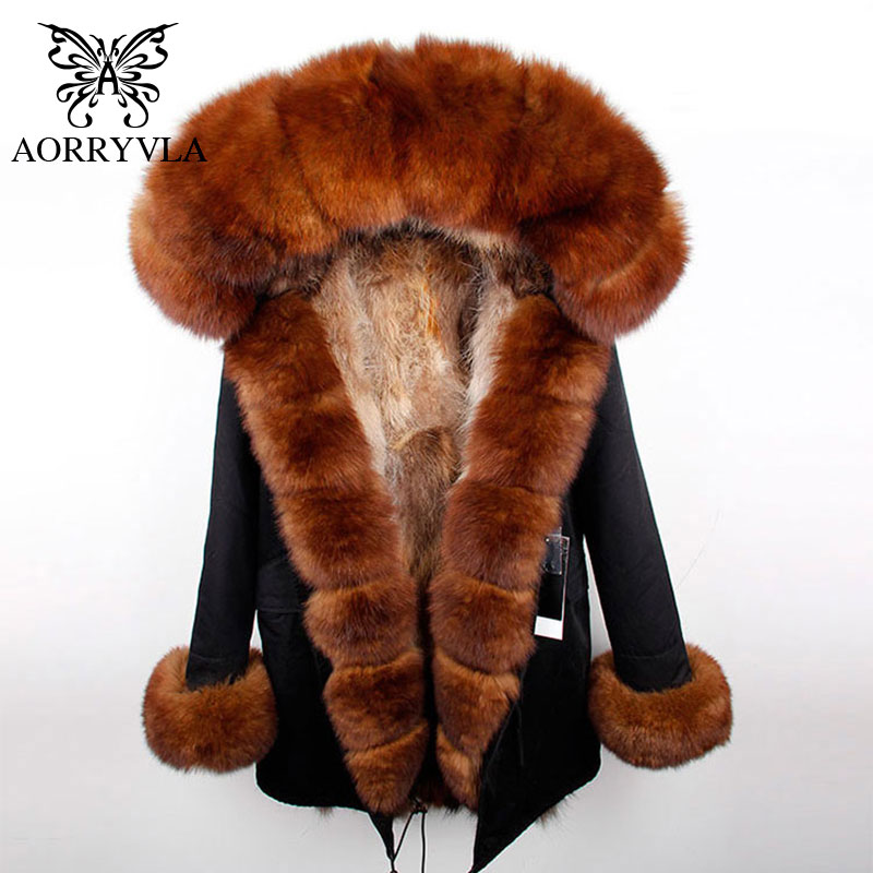 AORRYVLA Fur   Parkas   For Women Winter 2018 Real Natural Fox Fur Hooded With Natural Raccoon Fur Lining Thick Warm Long   Parka