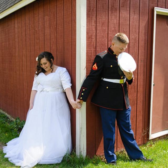 Robe De Mariage Cap Sleeve White Military Wedding Dress Empire Flower Sash Tulle Skirt Half