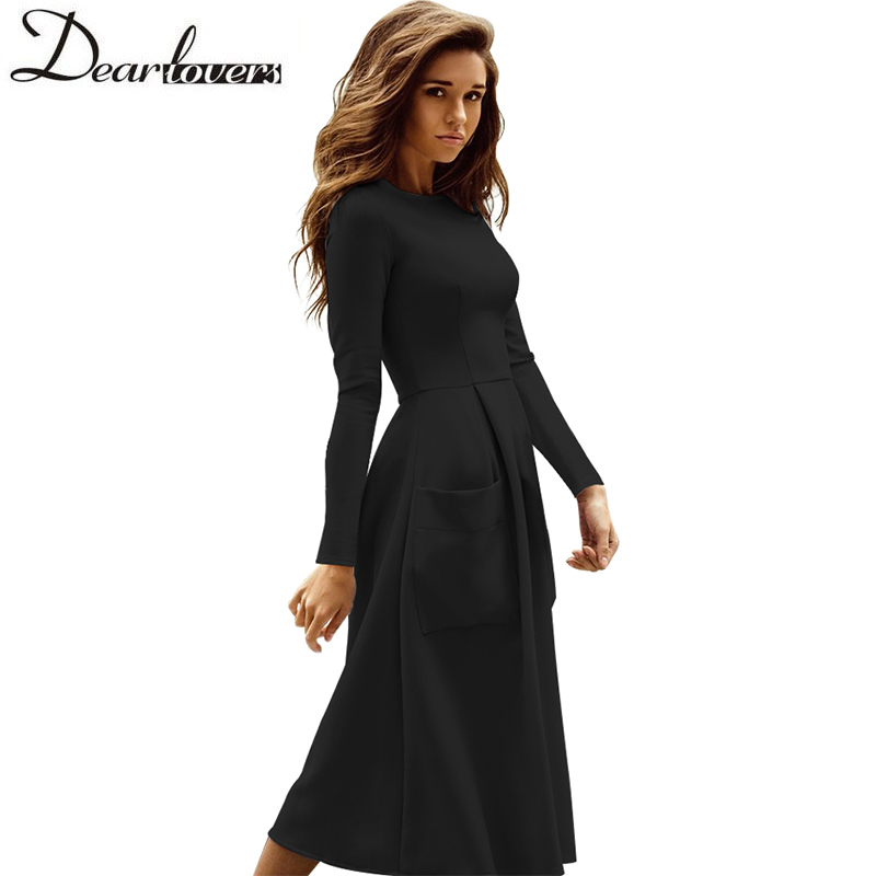 c4cac19637 Dear lovers Winter Autumn Women Casual Midi Dresses Skater Dress Female  Long Sleeve Burgundy Sexy Office Pleated Dress LC61891-in Dresses from  Women s ...