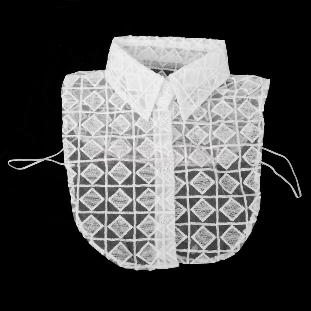 White Lace Check Fake Collar Detachable Half Shirt Blouse