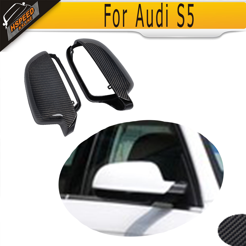 For A5 carbon fiber Full Replacement side rear back view mirror covers Caps for Audi A5 8T S5 2010 - 2014 RS5 11-15