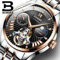 BINGER Men Watches Luxury Business Tourbillon Mechanical Watch Men Automatic Full Steel Waterproof Sapphire Sport Skeleton Watch