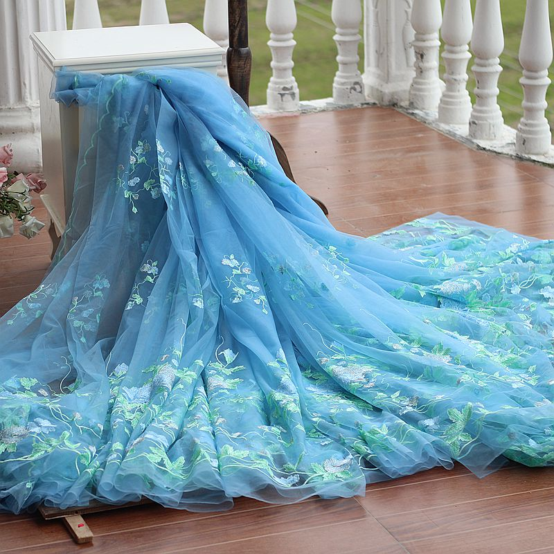 Wedding Gown Fabric Guide: Free Shipping Width133cm Blue Vintage Embroidered Lace