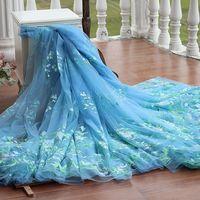 Frete grátis width133cm azul do Vintage bordado tecido de renda em ouro, Vestido da tela do laço de casamento vestido de noiva