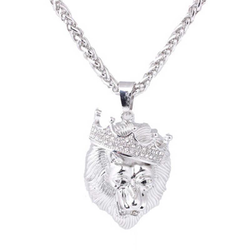 Sanwony 新ファッションメンズフルアイスアウトラインストーンライオンタグペンダントキューバチェーンヒップホップのネックレスの宝石ネックレス 38