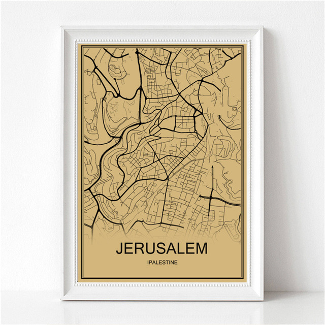 Hot sale Famous city JERUSALEM World map Krafts paper Retro painting ...