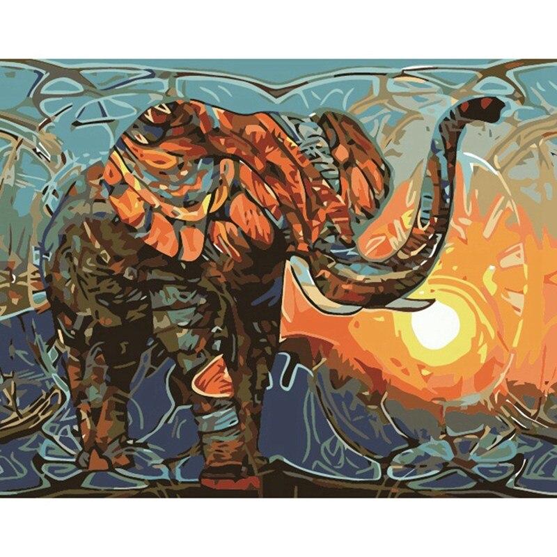 40x50 cm Rahmenlose Vintage Malerei Elephant DIY Malerei Durch Zahlen Kits Malen Auf Leinwand Hause Wand Kunst Bild kunstwerk