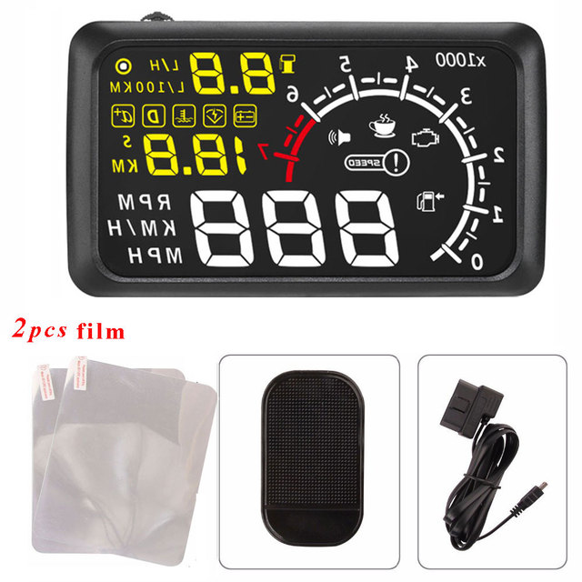 Free Shipping Universal Car HUD Head UP 5.5 LCD Display OBDII Car Styling Car Kit fuel Overspeed KM/H Pro with Anti-slip Pad