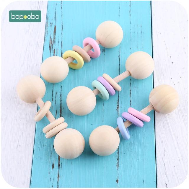Bopoobo 1 pc de grado alimenticio mordedor de madera bebé sonajeros juguetes Montessori juguetes de bebé regalo dentición madera bebé mordedor anillo sonajeros