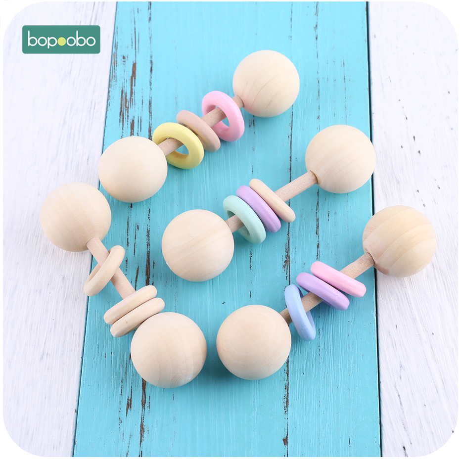 Bopoobo 1pc Food Grade Wooden Teether Baby Rattles Montessori Toys Baby Toys Gift Teething Wooden Baby Teether Ring Rattles