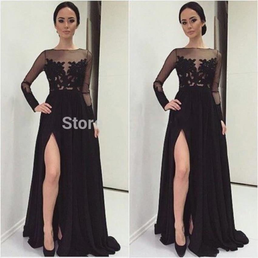 Dentelle Sexy manches longues 2018 femmes noires en mousseline de soie formelle longue soirée robe de bal chine robe de soirée mère des robes de mariée - 5