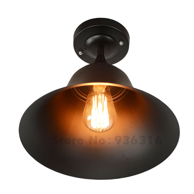 Blueking Vintage Iron Black Bell Lampshade Ceiling Lights Retro Industrial Loft E27 Edison LED Bulb Lustres Ceiling Lamp Fixture vintage edison chandelier rusty lampshade american industrial retro iron pendant lights cafe bar clothing store ceiling lamp