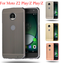 For Moto Z2 Play Case Electric Plating Metal Frame for Z Wire Drawing Effect Acrylic Cover Phone