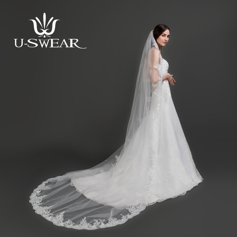 U-SWEAR Hot Sale White Soft Flower Lace Edge Wedding Veils One Layer Bridal Veils For Wedding Dress Cathedral Veils