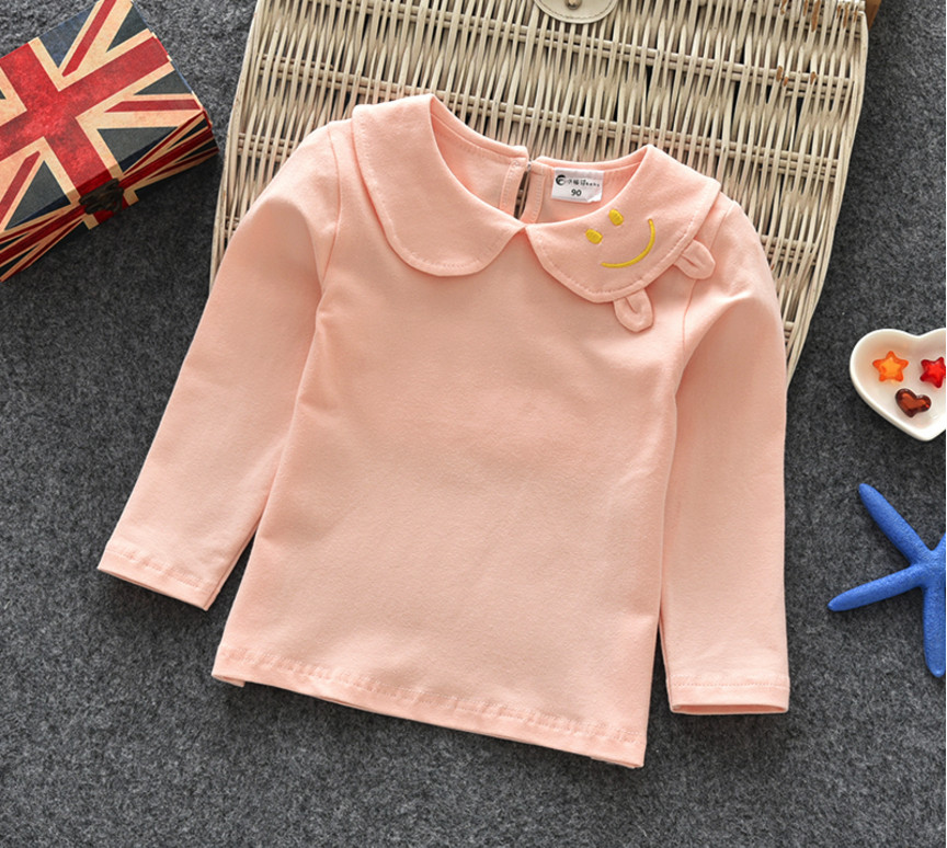 2018 Hot Sale Autumn Spring Baby Girls Shirts Smile Peter Pan Collar Tops Children 100% Cotton Base Shirt Kids Clothing Gifts hee grand hemp loafers 2018 embroider fisherman shoes woman straw slip on casual flats platform women shoes size 35 41 xwd6317