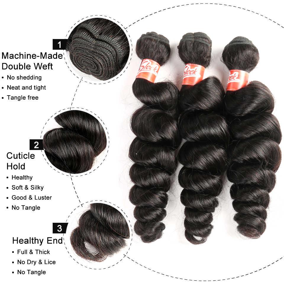 Paquetes de ondas sueltas malasias elegantes con cierre libre/Medio/tres partes no Remy cabello humano tejido 3 paquetes con cierre