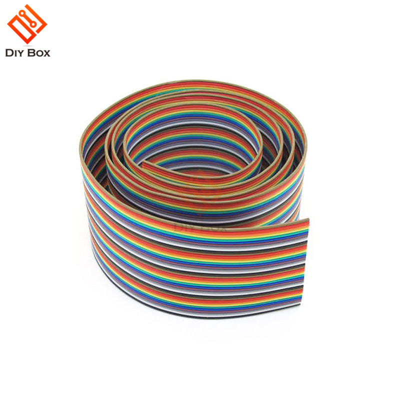 1M 3.3ft <font><b>40</b></font> <font><b>Pin</b></font> <font><b>Flat</b></font> Color Rainbow Ribbon IDC <font><b>Cable</b></font> Wire Rainbow <font><b>Cable</b></font> image