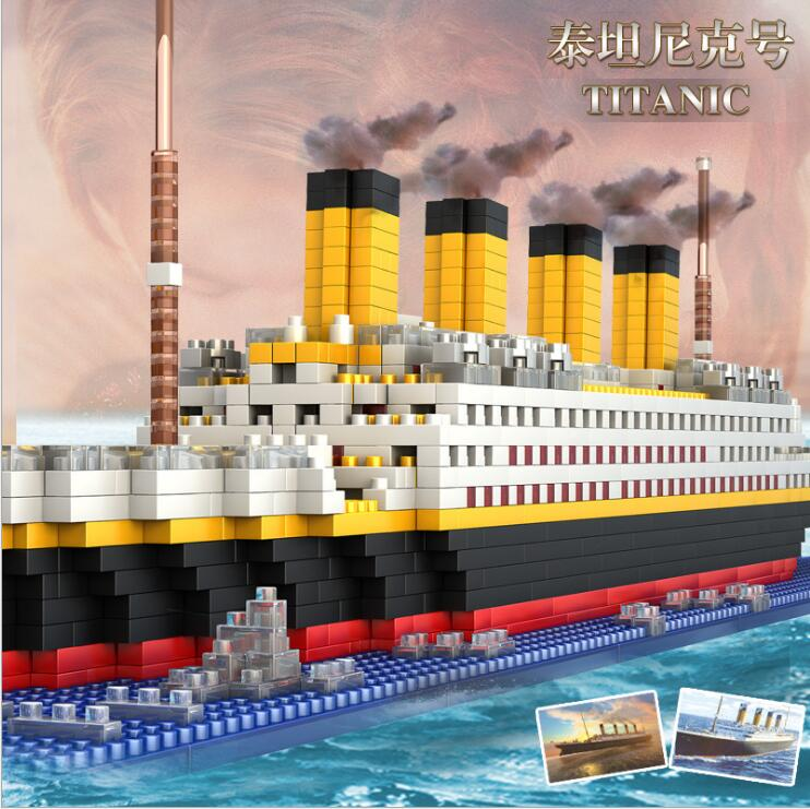 Christmas Titanic Cruise Military Ship Building Blocks Iceberg Model Diamond Building Blocks Sets Toys For Children enlighten building blocks navy frigate ship assembling building blocks military series blocks girls