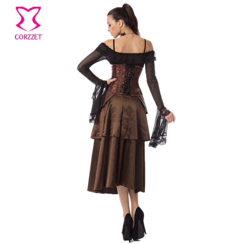 0412532a3c0 Vintage Floral Brocade and Leather Steel Boned Underbust Corset Dress  Steampunk Clothing Burlesque Corsets and Bustiers Sexy-in Bustiers   Corsets  from ...