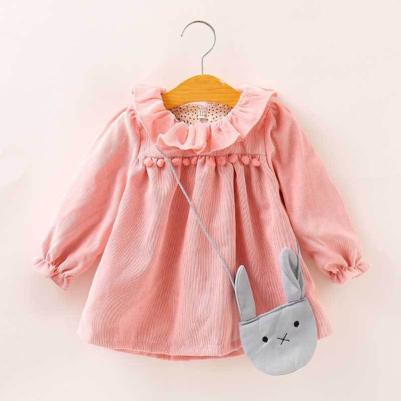 Baby Girls Corduroy Dress Winter Autumn Kids Tutu Dresses with Bag Long-sleeved Baby Girl Toddler Clothing 2Pcs Children Clothes