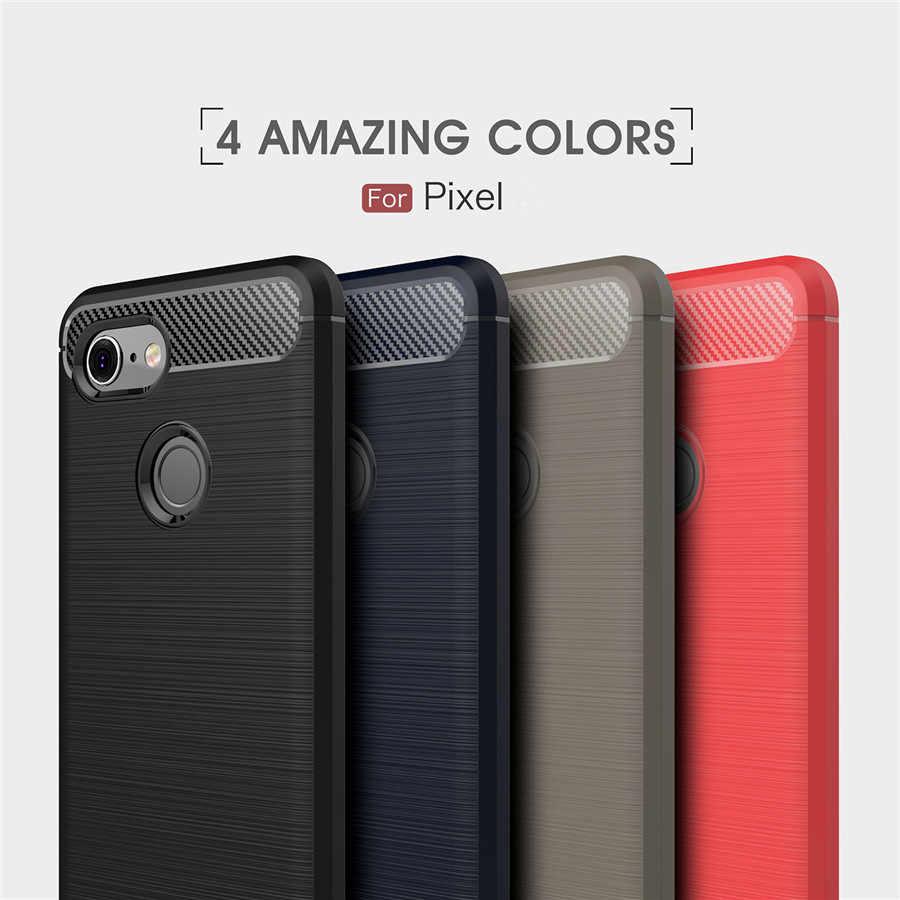 กันกระแทกสำหรับGoogle Pixel 3 2 กรณีPixel 3XL 2XL 3 2 1 XLคาร์บอนไฟเบอร์TPUซิลิโคนโทรศัพท์กลับCapa
