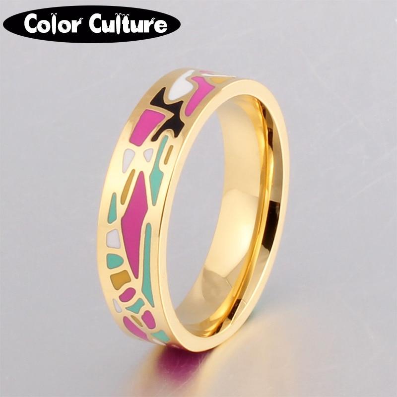 Jauns nerūsējošā tērauda gredzeni rotaslietas krāsains ģeometriskās emaljas gredzeni sievietēm labākie draugi brīvdienu dāvanas zeltīti gredzeni