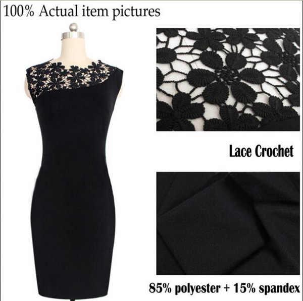 Tenue décontractée été noir Sexy femmes Stretch soirée dentelle mince moulante crayon robes Vestidos Crochet robe élégante J2