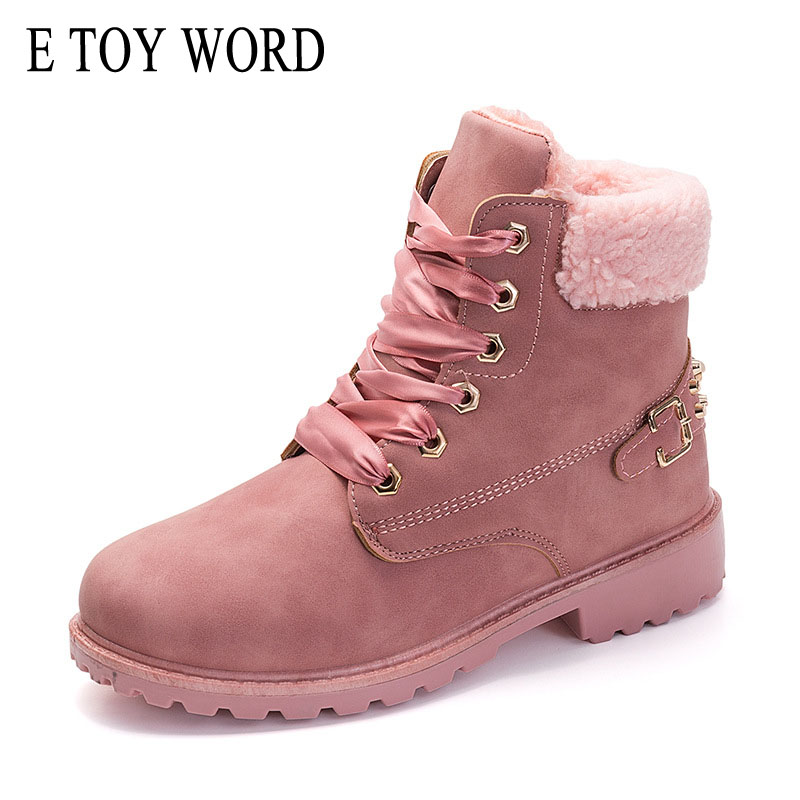 E TOY WORD New Pink Women Boots Lace up Solid Casual Ankle Boots Martin Round Toe Women Shoes Winter Snow Boots Warm free shipping 2016 new winter women snow boots plus size 34 43 round toe lace up warm sweet pink martin boots boty