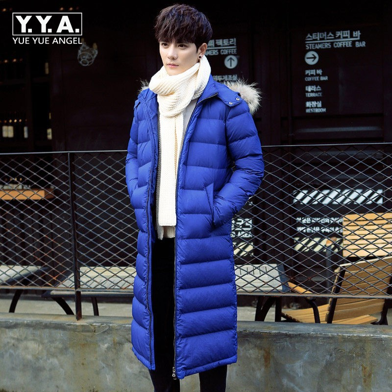 Winter Loose Fit Long Coat Straight Down Jackets Men Windbreaker Fashion Fur Collar Hooded Jacket Warm Outerwear Overcoats Parka