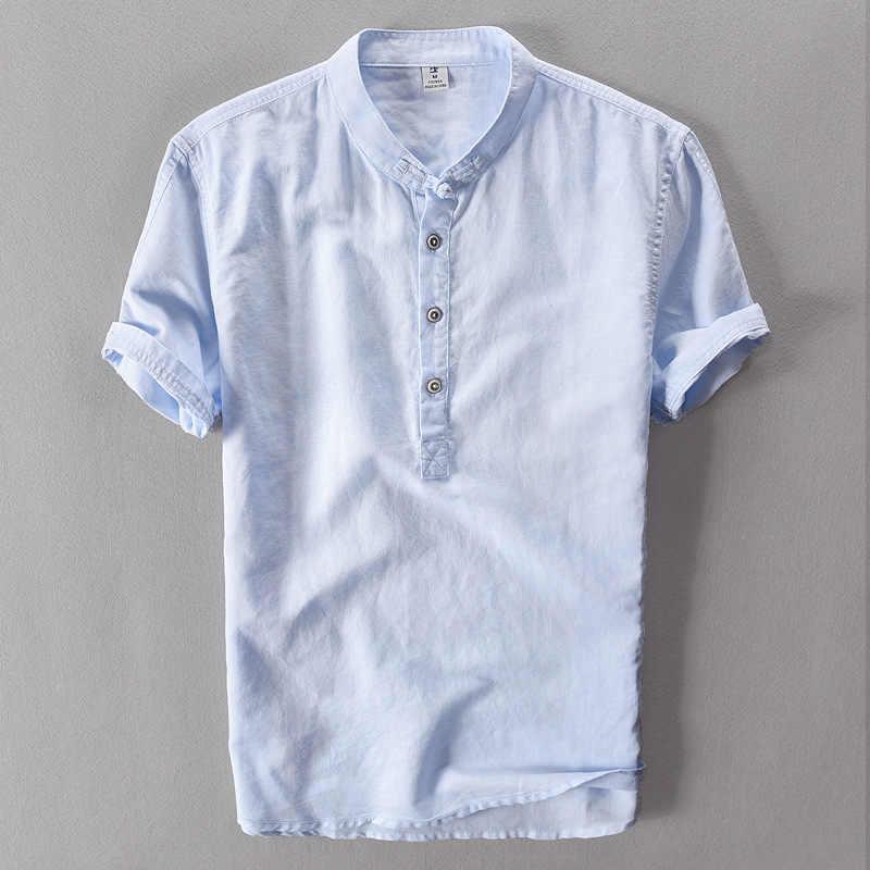 2019 летняя льняная рубашка повседневные мужские рубашки с короткими рукавами дышащие крутые Гавайские рубашки Свободные европейские размеры высокое качество