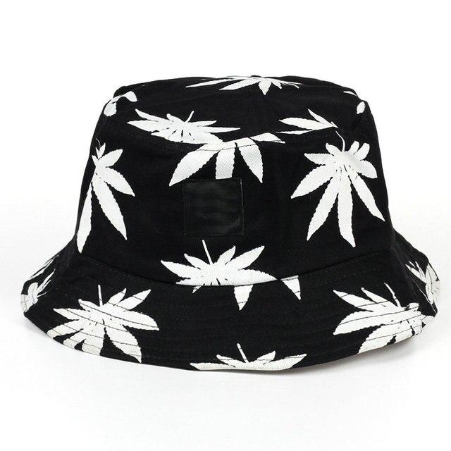 Gaya korea Daun Maple Leaveland Bucket Hat Unisex Hip Hop Topi Cap Pria  Wanita Katun Dicetak 215193e23634