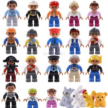 Legoing Duplo Figures Accessories Princess Pirate Policemen Prisoner Animals Zoo Boy Girl Kid Toy Building Block Legoings Duploe(China)