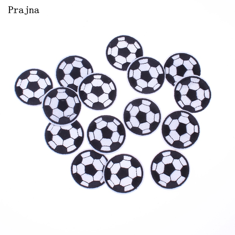 Prajna Brand Patch 10PCS Football Embroidery Cute Patches For Clothing Iron Stickers Cute Cheap  Applique For Bag DIY Accessory