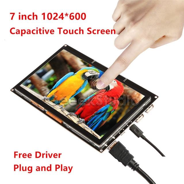 Controlador gratis 7 pulgadas 1024*600 Monitor de pantalla táctil para Raspberry Pi/Windows PC/BeagleBone negro plug and Play