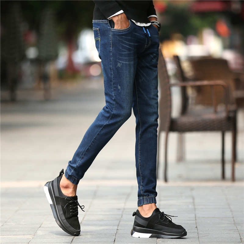 Men s Jeans High Stretch Fashion Blue Denim Brand Men Slim Fit Jeans Size 30 32
