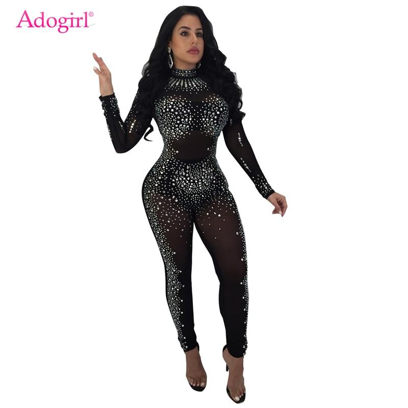 Adogirl Sparkling Floral Crystal Sheer Mesh Jumpsuit Women Rompers Turtleneck Long Sleeve Skinny Bodysuit Night Club Overalls