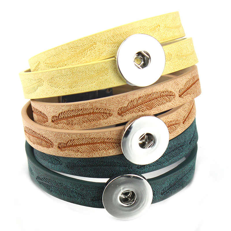 New Snap Button Jewelry Bracelet 18mm Leather Snap Bracelet Wrap Multilayer Bohemian Leopard Leather Bracelet