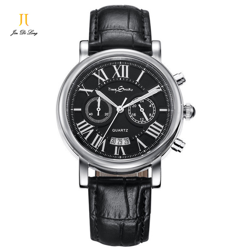 Brand Fashion Quartz-Watch Men Leather Strap Casual Watch Rome Numeral Calendar Clock Waterproof 5 ATM Business Wristwatches 2016 weiqin famous brand business women watch 5 atm leather strap analog calendar function female quartz watch reloj mujer